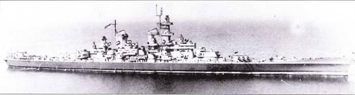 «Висконсин», апрель 1944г. Линкор окрашен по схеме Ms. 22. в которой он вошел в строй. В этой окраске корабль оставался до окончания войны.