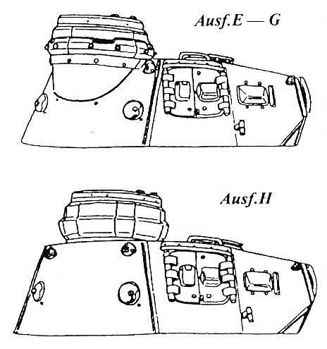 Характерные отличия кормовых частей башен.