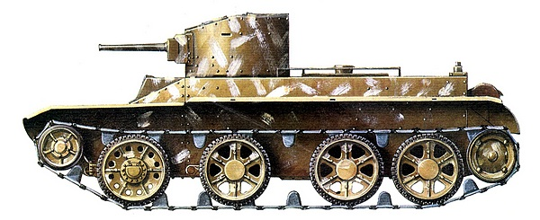 БТ-2 с пушечно-пулемётным вооружением. 24-я танковая дивизия, 10-й механизированный корпус, 1941 год.