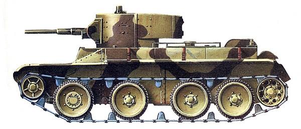 БТ-5 в стандартном двухцветном камуфляже, принятом для центральных военных округов, 1936 год.