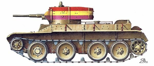 БТ-5 в окраске Бронетанковой бригады республиканской армии Испания, 1938 год.
