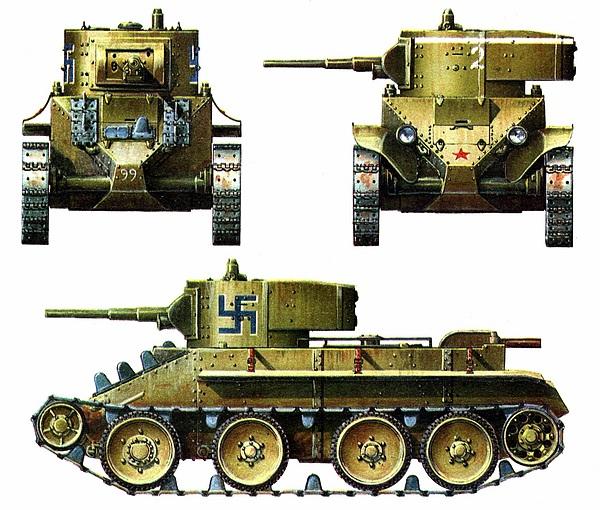 БТ-5 № R-99. Танковый батальон финской армии, осень 1941 года (слева вверху и внизу).