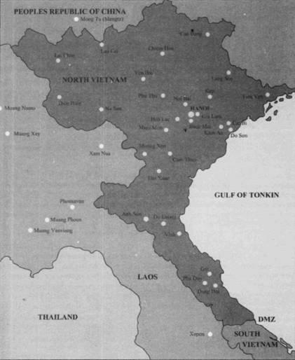 На карте показаны аэродромы, которые использовали самолеты ВВС ДРВ в ходе войны с США, кроме того, отмечены также приграничные авиабазы Китая и Лаоса.