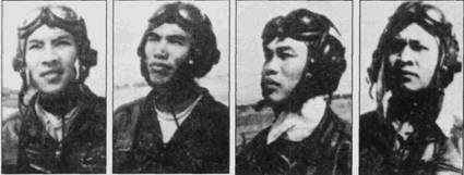 Тран Хань в бою 4 апреля возглавлял звено истребителей МиГ-17 из 921-го полка. На снимках летчики звена, слева направо: Тран Хань, Фам Гмай, Ле Минь Хуан, Тран Нгуен Нам. Второй «Тандерчиф» (F-105D Bu№59-1764) сбил Ле Минь Хуан; американский летчик, капитан Дж. А. Магнассон, погиб. Вьетнамцы также понесли потери: из боевого вылета не вернулись Фам Гиай, Ле Минь Хуан, Тран Нгуен Нам. Это может показаться фантастикой, но никто из американцев, принимавших участие в воздушном бою, не докладывал о сбитых самолетах противника. Скорее всего — юные летчики МиГов пали жертвами огня собственной <a href='https://arsenal-info.ru/b/book/446510402/185' target='_self'>зенитной артиллерии</a>.