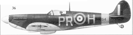 36. Mk ПА P8264/PR-H флэг-офицера Джона Бисди, 609-я эскадрилья, Биггин-Хилл, май 1941г.