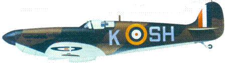 Mk I P9554/K-SH пайлот-офицера Джеймса О'Мира, август 1940г.