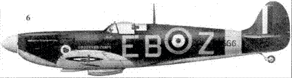 6. Mk НА P7666/EB-Z командира 41-й эскадрильи скуадрон лидера Дональда Финли, Хончарч, ноябрь 1940г.