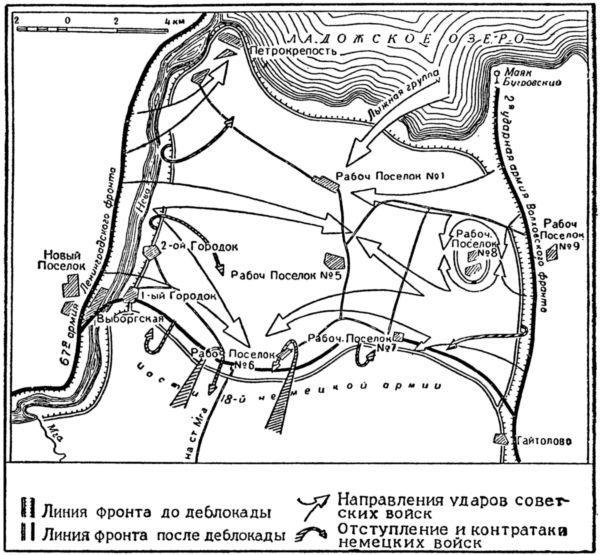 Схема. 3. Прорыв блокады Ленинграда в январе 1943 года.