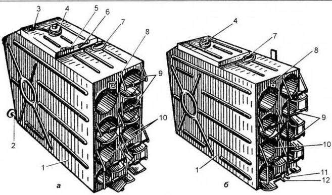 Баки-стеллажи (а — левый; б — правый):