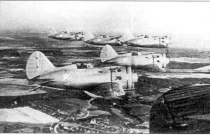 В полете эскадрилья истребителей И-16, лето 1941 г.