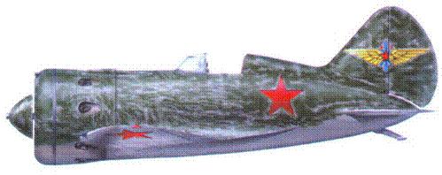 И-16 тип 10. Захваченный в качестве трофея немецкими войсками летом 1941 г. Серебристая окраска верхней и боковых поверхностей самолетов <a href='https://med-tutorial.ru/m-lib/b/book/1951726194/75' target='_blank' rel='external'>небрежно</a> замазана кистью зеленой краской. Обратите внимание на эмблему ВВС РККА, нанесенную на вертикальное оперение самолета.
