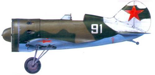 И-16 тип 18. В опорах шасси сняты щитки, чтобы пространство щитком и стойкой не забивалось снегом при эксплуатации самолета на зимних аэродромах.