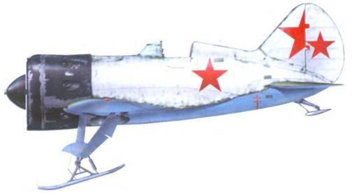 И-16 тип 10, оснащенный убираемым лыжным шасси, зима 1941-42 г.г..