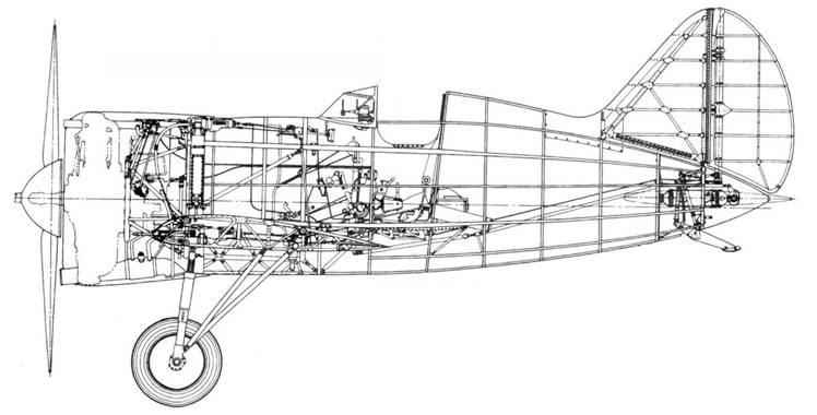 Компоновка истребителя И-16 тип 10.