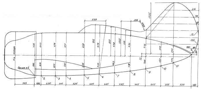 Профили фюзеляжа истребителя И-16 в М 1:32, размеры даны в масштабе 1:1.