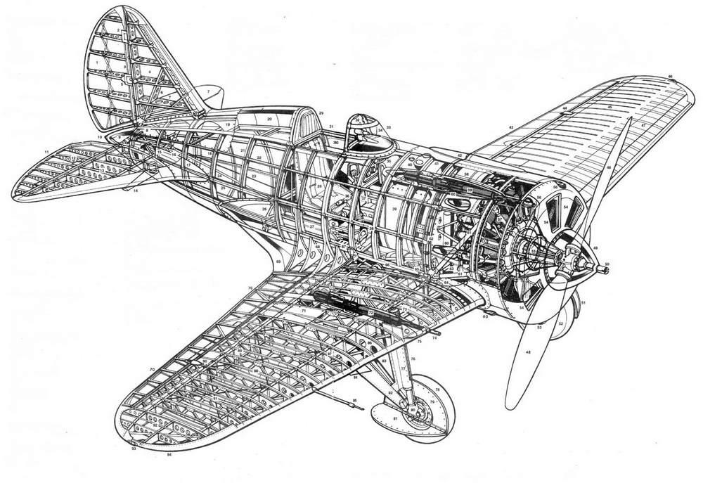 Компоновочная схема истребителя И-16 тип 10