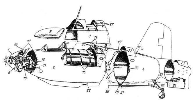 Технологическое членение фюзеляжа Me 163: