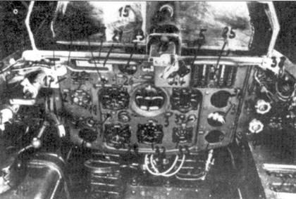 Приборная доска Me 163В. Сверху виден прицел и бронестекло.