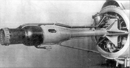 Двигатель Walter HWK 109-509А-1, стоявший на Me 163В-1. У «Кометы» демонтирована задняя секция фюзеляжа.