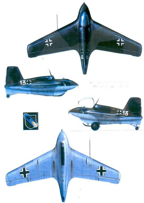 Me 163 B-l (13)-2./JG 400, Леибциг-Брандис, 1945г.