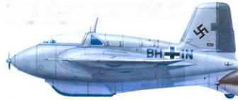 Me 163B-0 (V35), Erprobungskommando 16. Бад-Цвишенан, 1943/44г.г. Весь самолет в цвете RLM 02, руль направления RL.M 71.