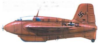Me 163В-0 (V41, PK+QL), пилот Вольфганг Шпее. ЕК 16. Бад-Цвишенан, 1943 год. Самолет целиком выкрашен в красный цвет RLM 23.
