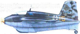 Me 163В-1. W.Nr. 191639. 6./JG 400. Гузум (Шлезвиг- Гольштейн). Стандартный камуфляж, киль в пятнах RLM 81 и 82.