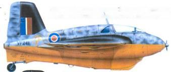 Me 163В-1. пилот, капитан Э. Браун. Верхняя сторона самолета в английском камуфляже, днище оранжевое.
