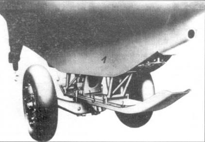 Посадочный полоз и колесная тележка Me 163В-0.