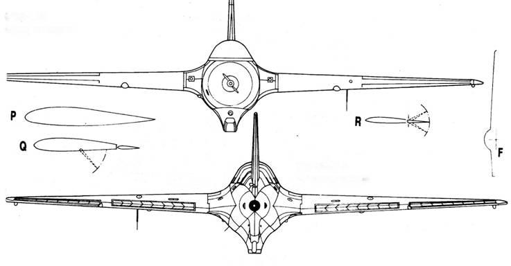 Me 163 В-1 1-й вид спереди Me 163 В-1 2-й серии, вид сзади