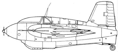 Me 163 В-1 первой серии без обтекателя хвостового колеса