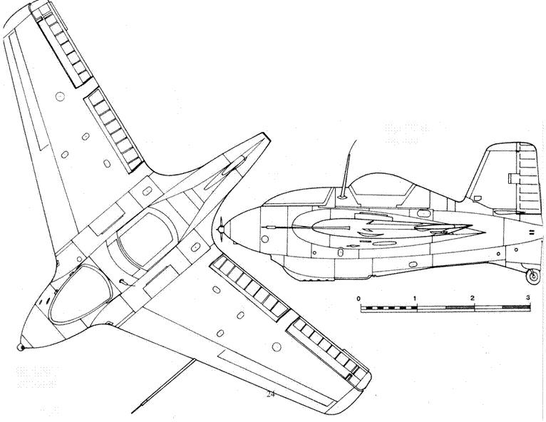 Me 163 S вид слева Me 163 S вид сверху