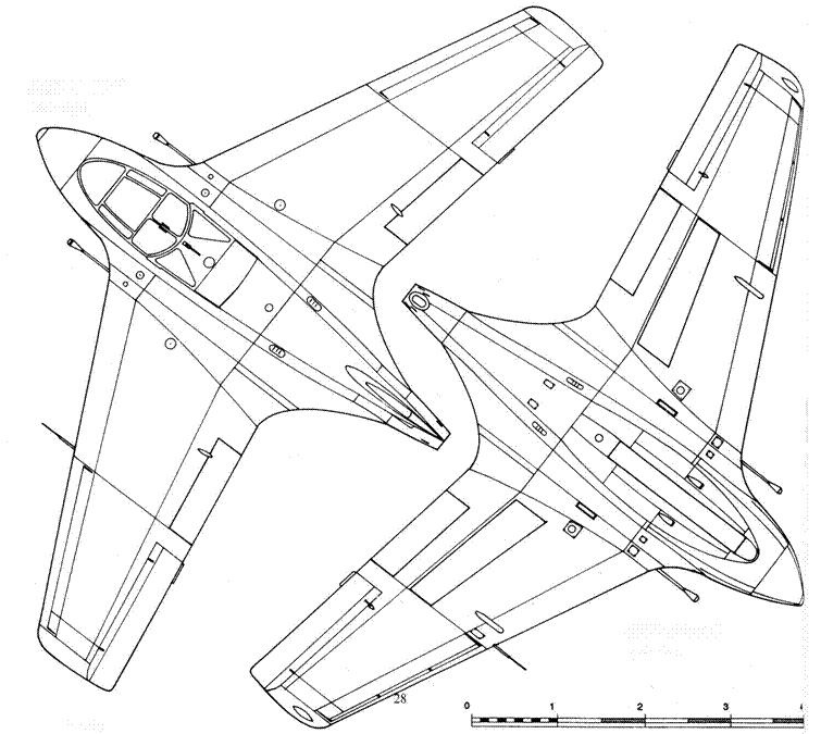 J8M1 Shusui вид сверху