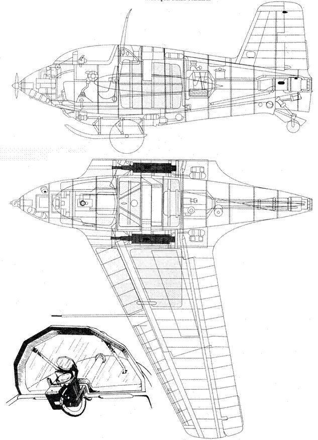 Компоновочная схема Me 163 В-0 с пушками МК 108