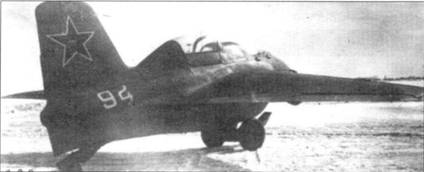 Двухместный Me 163 S во время тестов в ЛИИ. На этом самолете летал Марк Галлай, все полеты производились при помощи буксира, так как пе было немецкого ракетного топлива.