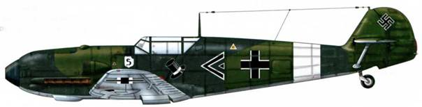Bf 109Е-1 из i./jg 26, Кёльн, Германия, лето 1939 г. Пилот капитан Готхард Хандрик, командир группы Верхние поверхности: RLM 70/71 Нижние поверхности: RLM 65