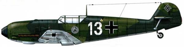 Bf 109Е-1 из 1./jg 51, Германия, лето 1939 г. Верхние поверхности: RLM 70/71 Нижние поверхности: RLM 65