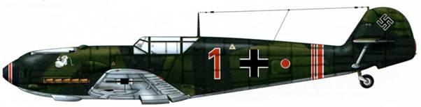 Bf 109Е-1 из 2./JG 77, Германия, лето 1939 г. Пилот капитан и командир эскадрильи Ханнес Траутлофт Верхние поверхности: RLM 70/71. Нижние поверхности: RLM 65