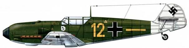 Bf 109Е-1 из ii./jg 26, Дюссельдорф, Германия, август 1939 г. Окрашенная в белый цвет хвостовая часть обозначала одну из сторон во время летних учений Люфтваффе. Верхние поверхности: RLM 70/71 Нижние поверхности: RLM 65