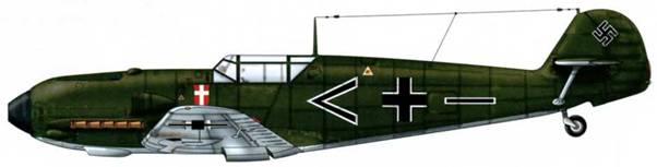 Bf 109Е-1 из ll./ZGl (JGr 101), Фюрстенвальде, Германия, сентябрь 1939 г. Пилот Oberleutnant (старший лейтенант) Эрвин Бачила, Gruppenadjudant (адъютант группы) Верхние поверхности: RLM 70/71. Нижние поверхности: RLM 65.