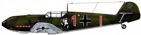 Bf 109Е-1 H3 8./JG26, Германия, 1939 г. Пилот Oberleutnant (старший лейтенант) Эдуард Нойман, командир эскадрильи Верхние поверхности: RLM 70/71 Нижние поверхности: RLM 65