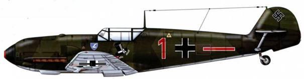 Bf 109Е-1 из 5./JG 77, Йевер, Германия, декабрь 1939 г. Пилот лейтенант Винфрид Шмидт Верхние поверхности: RLM 70/71. Нижние поверхности: RLM 65.