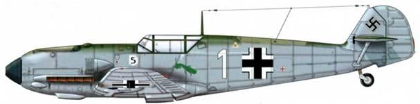 Bf 109Е-1 из 1./JG 26, Дортмунд, Германия, декабрь 1939 г. Пилот Oberleutnant (старший лейтенант) Франц Хёрнунг, командир эскадрильи Верхние поверхности: RLM 71 /02 Нижние поверхности: RLM 65