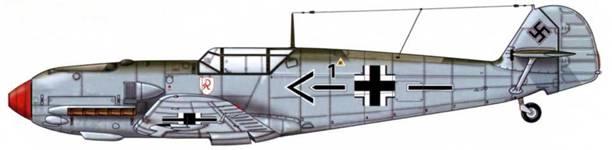 Bf 109Е-1 из JG 2, декабрь 1939 г. Пилот Oberst (полковник) Герт фон Массов, командир эскадры JG 2 Верхние поверхности: RLM 71/02 Нижние поверхности: RLM 65