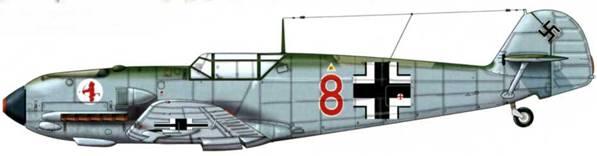 Bf 109Е-1 из 2./JG 52, Франция, май 1940 г. Пилот Unteroffizier (младший сержант) Людвиг Бильмайер Верхние поверхности: RLM 71/02. Нижние поверхности: RLM 65
