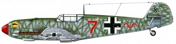 Bf 109Е-1 из II./jg 52, Хопстёден, Германия, август 1940 г. Верхние поверхности: RLM 71 /02. Камуфляж: RLM 71 Нижние поверхности: RLM 65