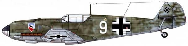 Bf 109Е-1 из 1./jg 52, Битва за Британию, август 1940 г. Пилот Feldwebel (сержант) Хайнц Урлингс Верхние поверхности: RLM 71 /02. Камуфляж: RLM 71 Нижние поверхности: RLM 65