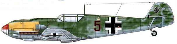 Bf 109Е-1 из 2./JG 27, Битва за Британию, сентябрь 1940 г. Пилот Unteroffizier (младший сержант) Андреас Вальбургер Верхние поверхности: RLM 71 /02. Камуфляж: RLM 71 Нижние поверхности: RLM 65
