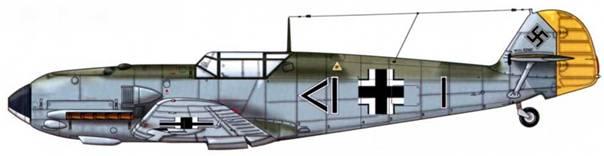 Bf 109Е-1 из II./ jg 26, Битва за Британию, сентябрь 1940 г. Пилот Oberleutnant (старший лейтенант) Вернер Бартельс, технический офицер III группы Верхние поверхности: RLM 71/02 Нижние поверхности: RLM 65
