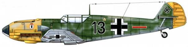 Bf 109Е-1 из 5./JG 27, Битва за Британию, сентябрь 1940 г. Пилот Oberleutnant (старший лейтенант) Эрвин Дайг Верхние поверхности: RLM 71 /02. Камуфляж RLM 71/02 Нижние поверхности: RLM 65 Капот двигателя: RLM 04